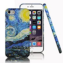 iPhone 7 Case,iPhone 8 Case,CLOUDS [Famous Paiting Series] Smooth Premium Durable Hard PC Funny Cool 3D Flowing oil painting case with a free screen protector-The Starry Night Van Gogh