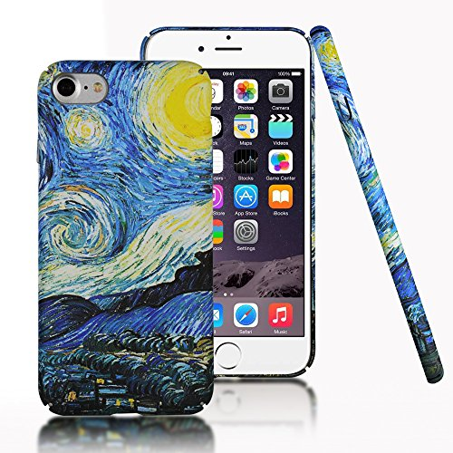 iPhone 7 Case,iPhone 8 Case,CLOUDS [Famous Paiting Series] Smooth Premium Durable Hard PC Funny Cool 3D Flowing oil painting case with a free screen protector-The Starry Night Van Gogh (Iphone Van)