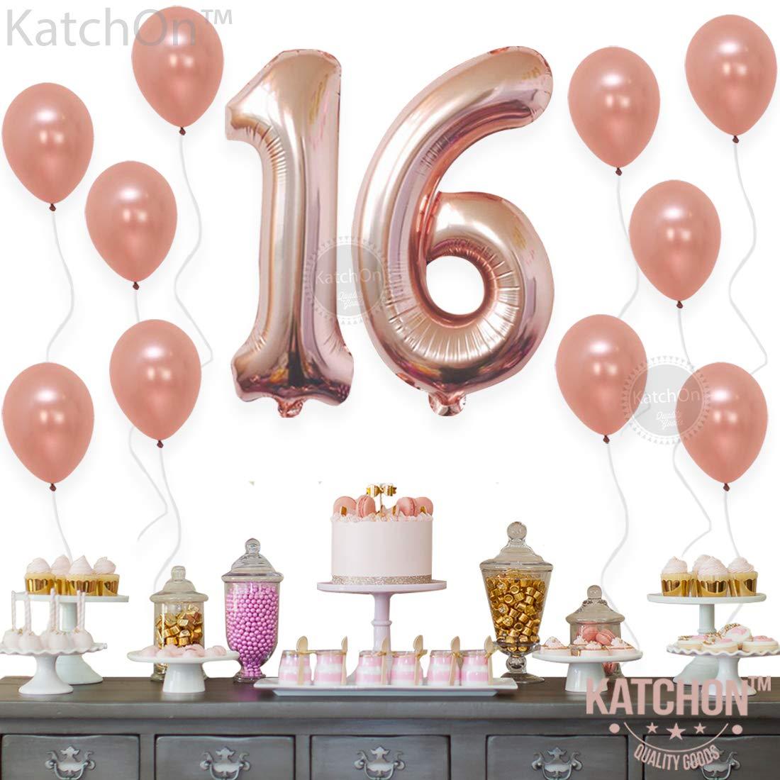 Amazon.com: Rose Gold Number 16 balloons - foil mylar Rose Gold ...