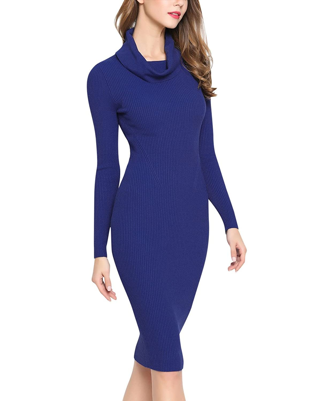 Rocorose Women's Cowl Neck Classic Bodycon Strechable Basic Sweater Dress