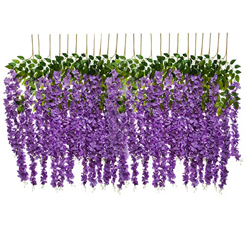 Pauwer 24 Pack (86.6 FT) Artificial Wisteria Vine Ratta Fake Wisteria Hanging Garland Silk Long Hanging Bush Flowers String Wedding Home Party Decor (Purple)