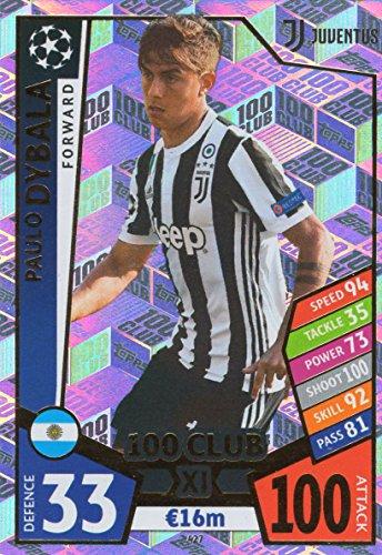 MATCH ATTAX CHAMPIONS LEAGUE 17/18 PAULO DYBALA 100 CLUB TRADING CARD - JUVENTUS 17/18 (Attax Club 100 Match)