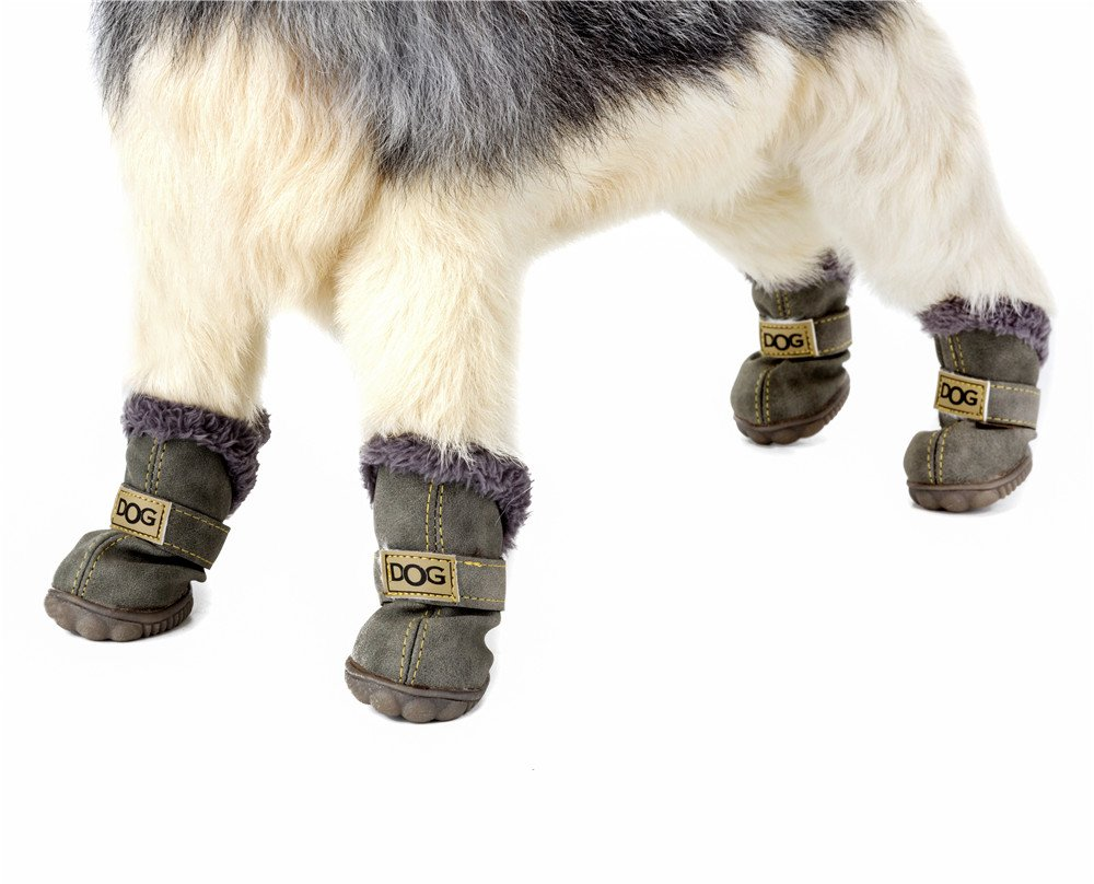 Glossy Brown, L PU Leather Outdoor Plush Winter Protective Sport Anti-slip Puppy Shoes REXSONN 4pcs Dogs Snow Boots