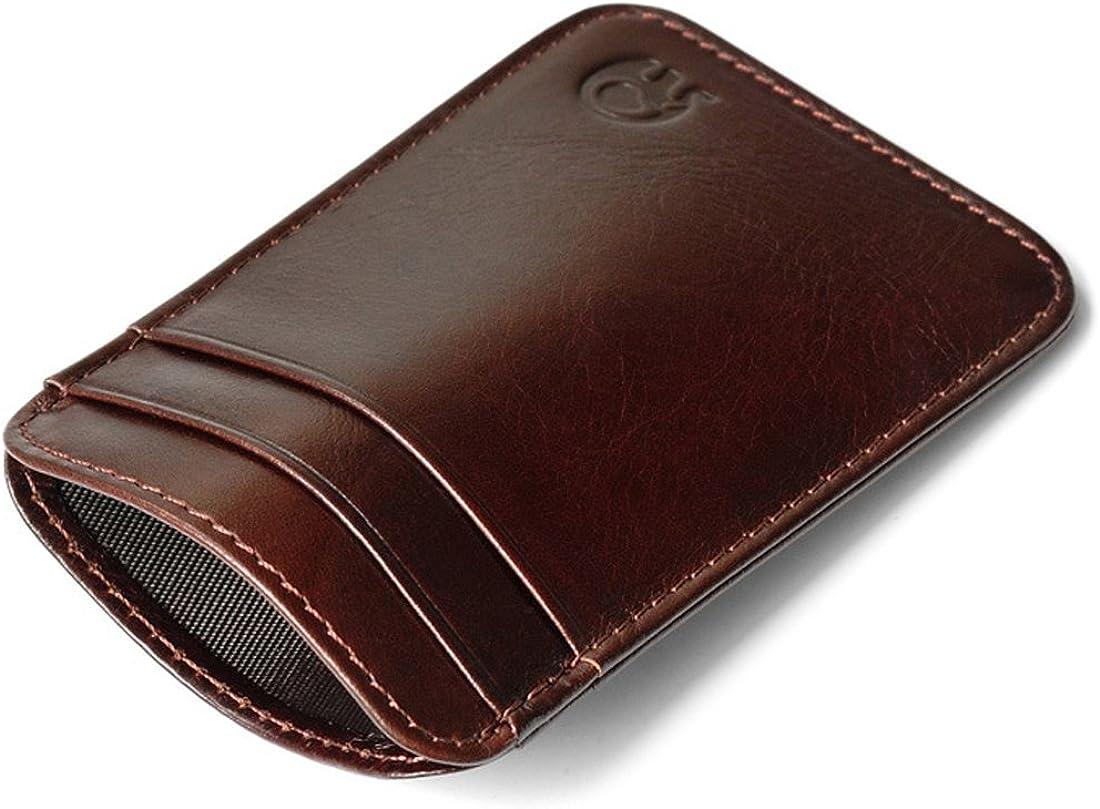 Slim Vintage Genuine Leather Wallet Front Pocket Credit Card Holder Sleeve Card case
