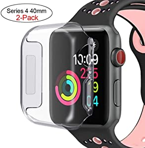 Marphar Series 4 40mm Case Compatible with Apple Watch Screen Protector, Overall Protective Case TPU High Definition Clear Ultra-Thin Cover Compatible with iWatch Case Series 4 (2 Pack)