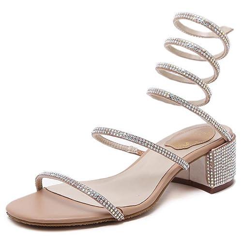 c69f73eafc66e Royou Yiuoer Dress Sandals Women Comfortable Low Heel Shiny Crystal  Rhinestone Gladiator Wrap Ankle Slip on
