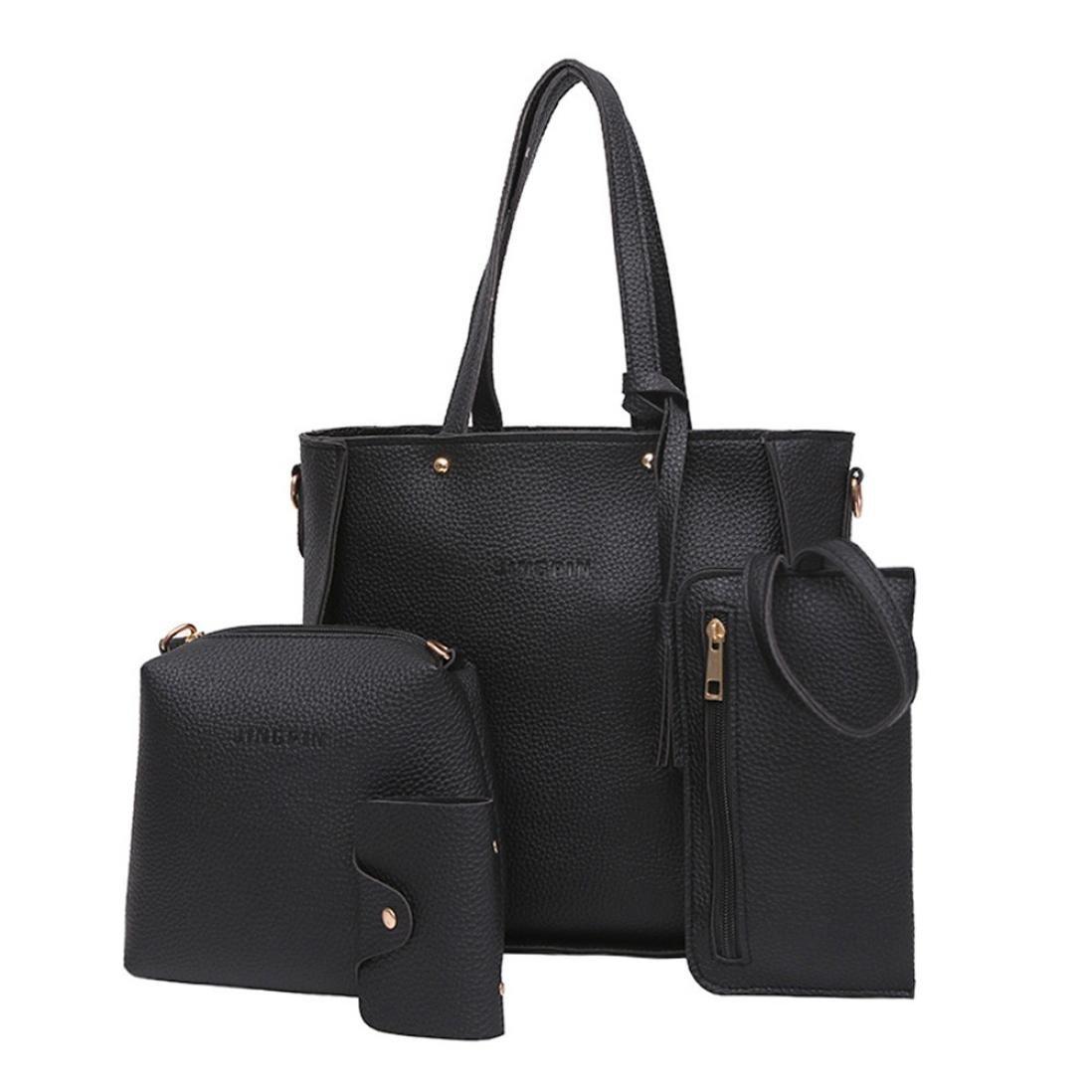 Pocciol Women Love Bags, Women Super Fashion Versatile 4 Pcs Handbag Tote Bag Crossbody Wallet Shoulder Bags (Black)