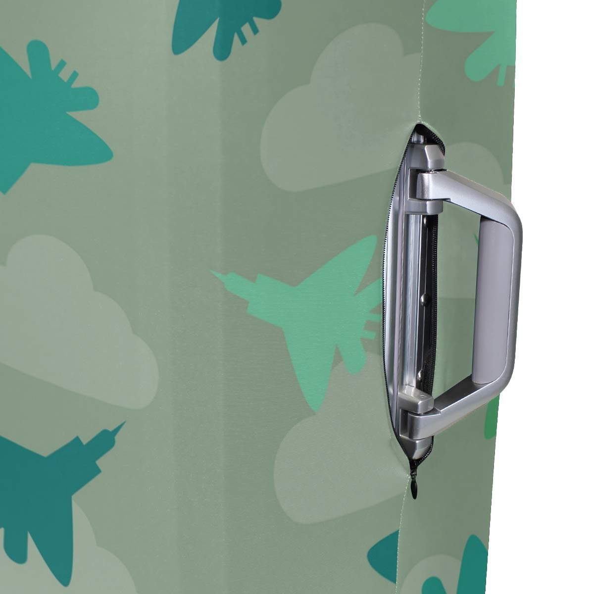 Baggage Covers Fighter Planes Pattern Green Cloud Washable Protective Case
