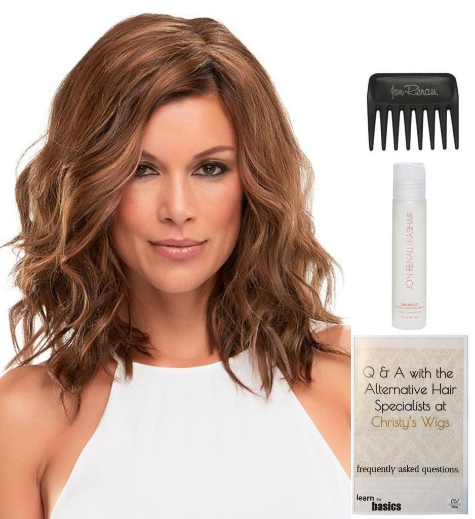 Bundle - 4 Items: Top Wave 12'' Hairpiece by Jon Renau, Christy's Wigs Q & A Booklet, 2oz Travel Size Synthetic Shampoo & Wide Tooth Comb Color: 8
