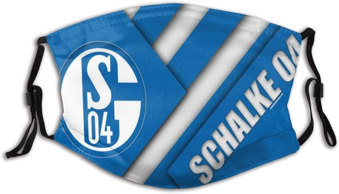 GABRI Mundschutz Gesichtsschutz Schalke 04 Fu/ßballmannschaft Logo 7 Antistaub Waschbar und Wiederverwendbar Bandana mit Filtern