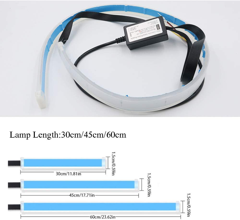 Ice Blue to Yellow, 30cm Flexible Dual Color LED Headlight Surface Strip Tube Light Ice Blue /& Amber//Yellow Daytime Running Light Waterproof DRL Neon Lights Turn Signal Bulb Sequential Switchback