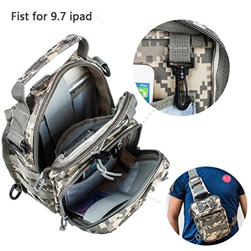 Travel Military Tactical Army Camo Sling Backpack Chest Bag army green - 9