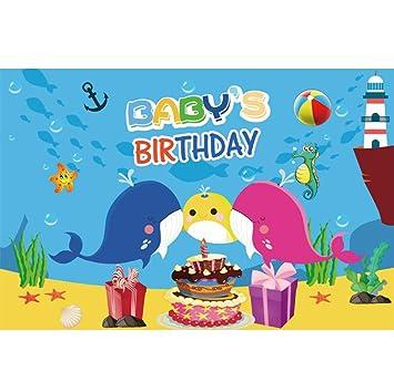 Cassisy 3x2m Vinilo Cumpleaños Telon de Fondo Cumpleaños del Bebe Bandera Mundo Submarino Dibujos Animados Familia de Ballena Fondos para Fotografia ...