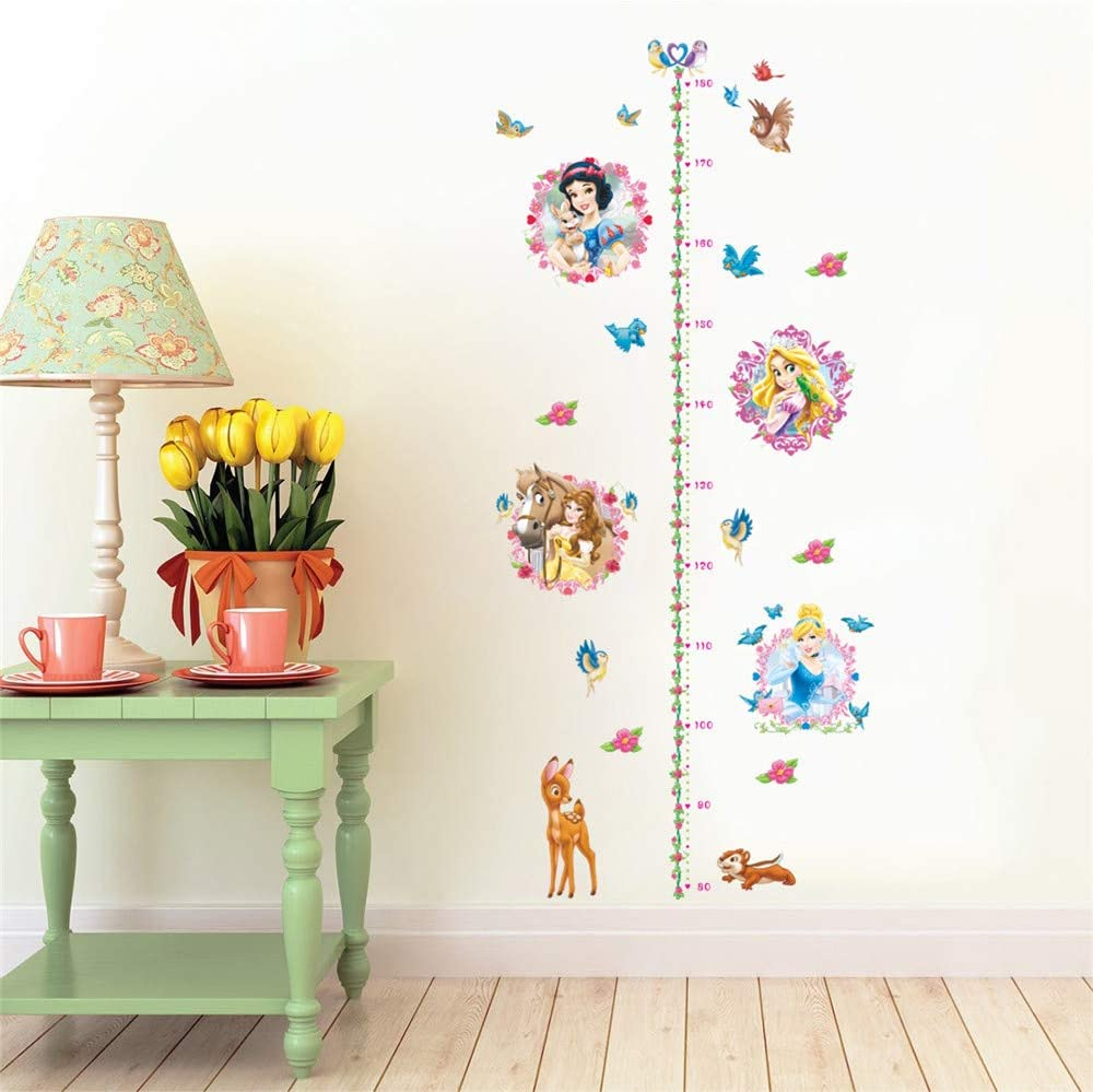 ufengke Princess Height Charts Wall Stickers Deer Flowers Wall Decals Art Decor for Girls Kids Bedroom Nursery