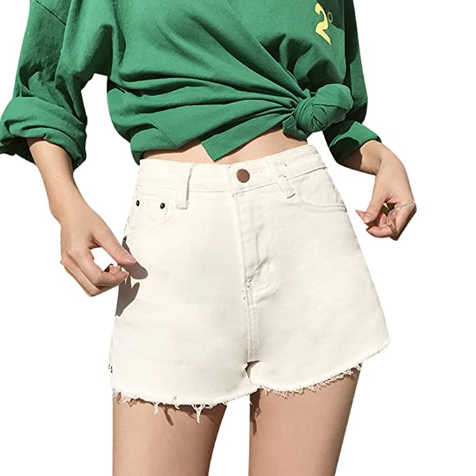 Xinwcanga Donna Vintage Vita Alta Jeans Strappato Shorts
