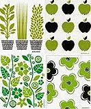 Swedish Dishcloth, Set of 4 (BG) Black & Green Plants Designs