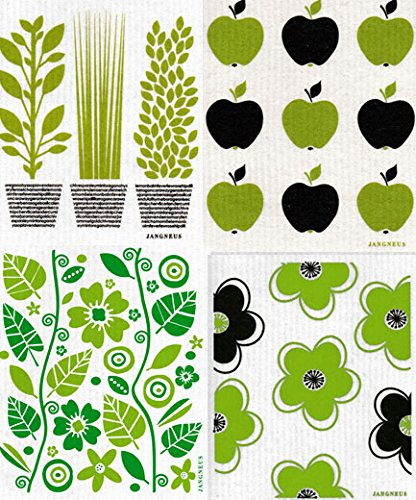 Swedish Dishcloth, Set of 4 (BG) Black & Green Plants Designs by Trendy Tripper (Image #5)