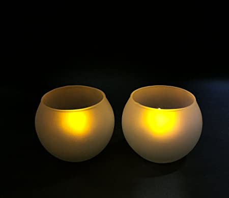 GOYAL® Christmas Special candles Frosted Round Bowl Votive Tea Light Candle Holder 3 Inch with Tea Light