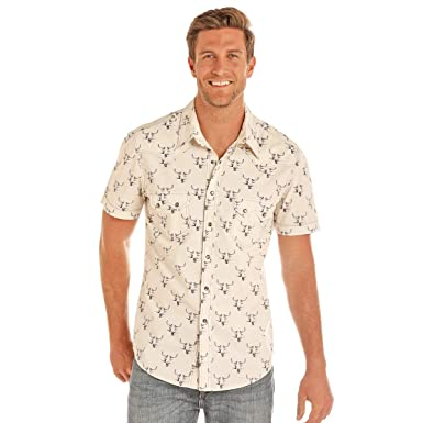 a4c5b90dde5fc Image Unavailable. Image not available for. Color  Rock   Roll Cowboy Men s  Bull Skull Print Short Sleeve Western Snap Shirt (Large)