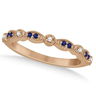 60608c14024bc Amazon.com: 18k Gold Pave-Set Blue Sapphire and Diamond Wedding Band ...