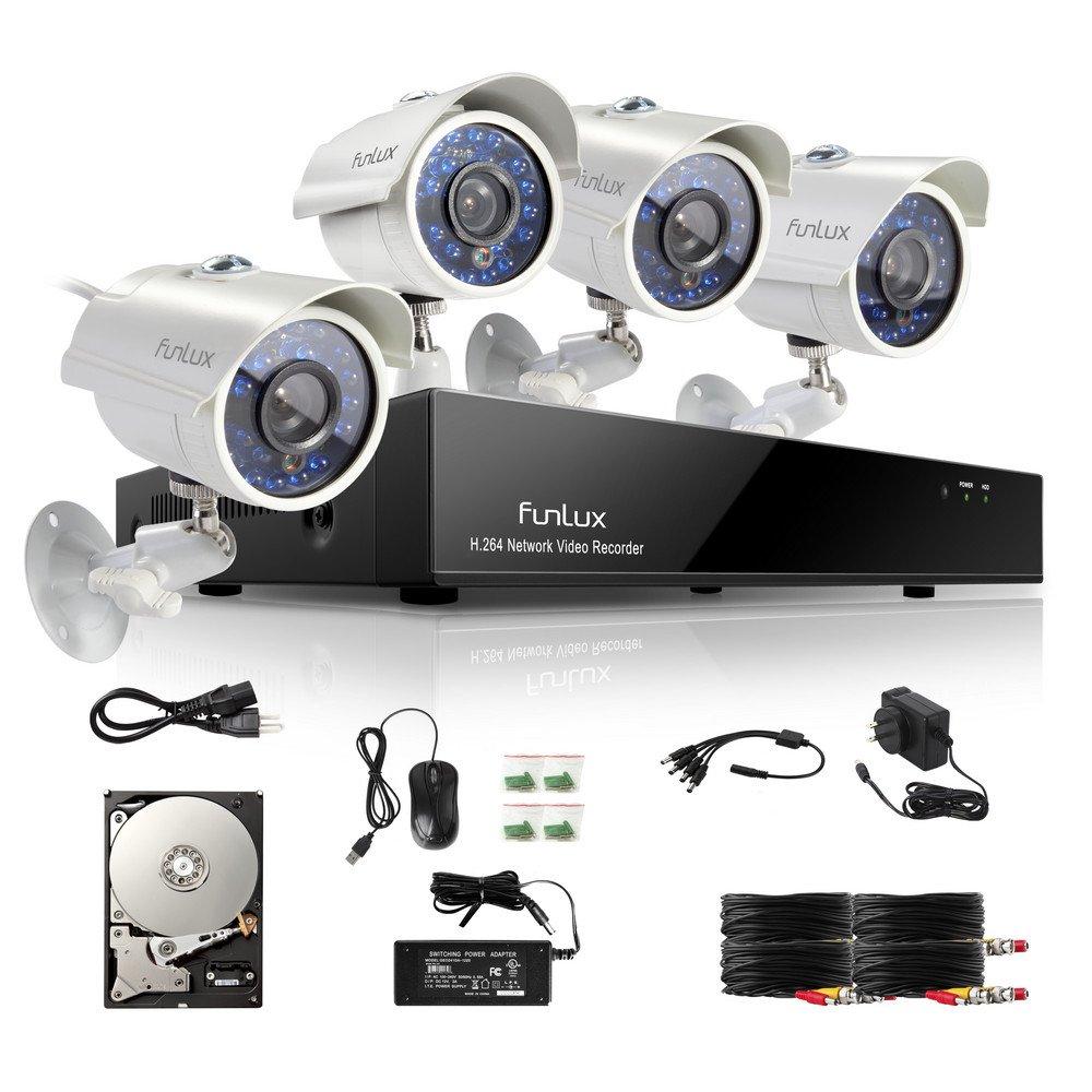 Funlux 8 ch 960H seguridad DVR Kit de sistema de cámara seguridad vigilancia con 4 x Cámaras de vigilancia Alta Resolución 700TVL Exterior Día/Noche IR Cut ...