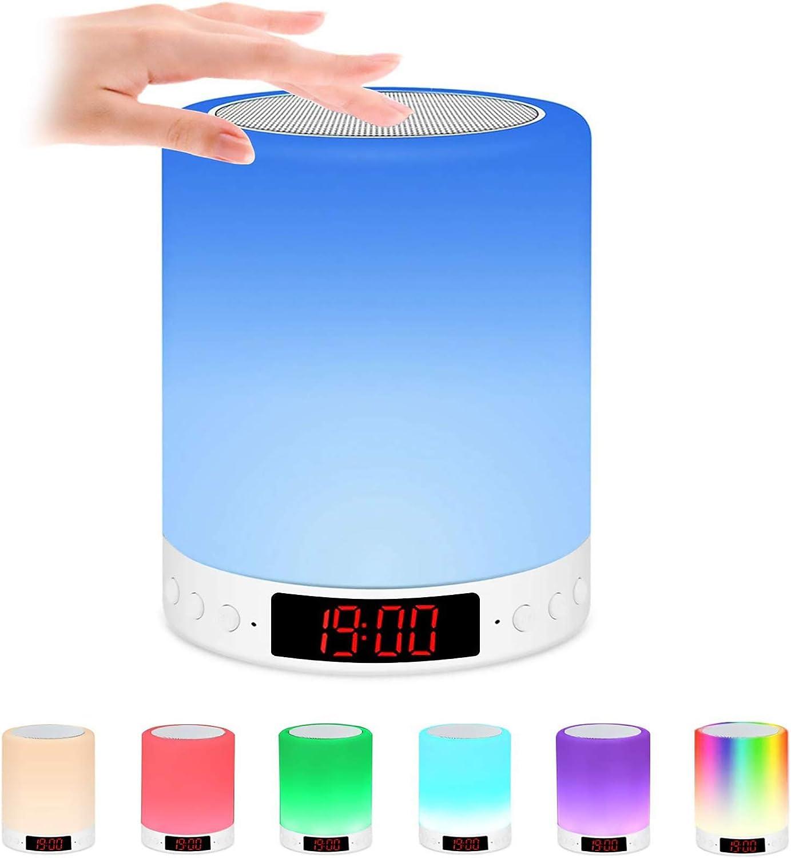 Luces nocturnas Altavoz Bluetooth, Lámpara de Mesita de Noche con reloj despertador,Lámpara LED de control táctil Regulable Luces cálidas 7 colores, Lámpara de cabecera con/reloj/alarma/USB/FM/MP3/TF
