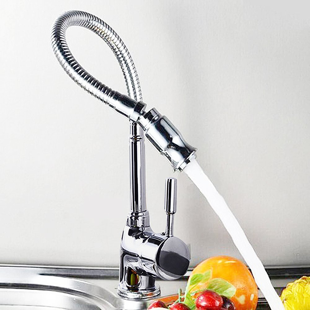 dp rinse amazon com style down kraus pull stainless faucets commercial handle kitchen single faucet steel kpf pre