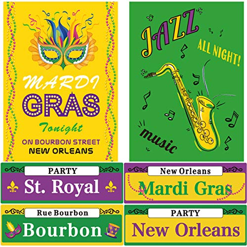 Mardi Gras Street Signs Party Decor Cutouts Two Sided Decoration 6Pcs