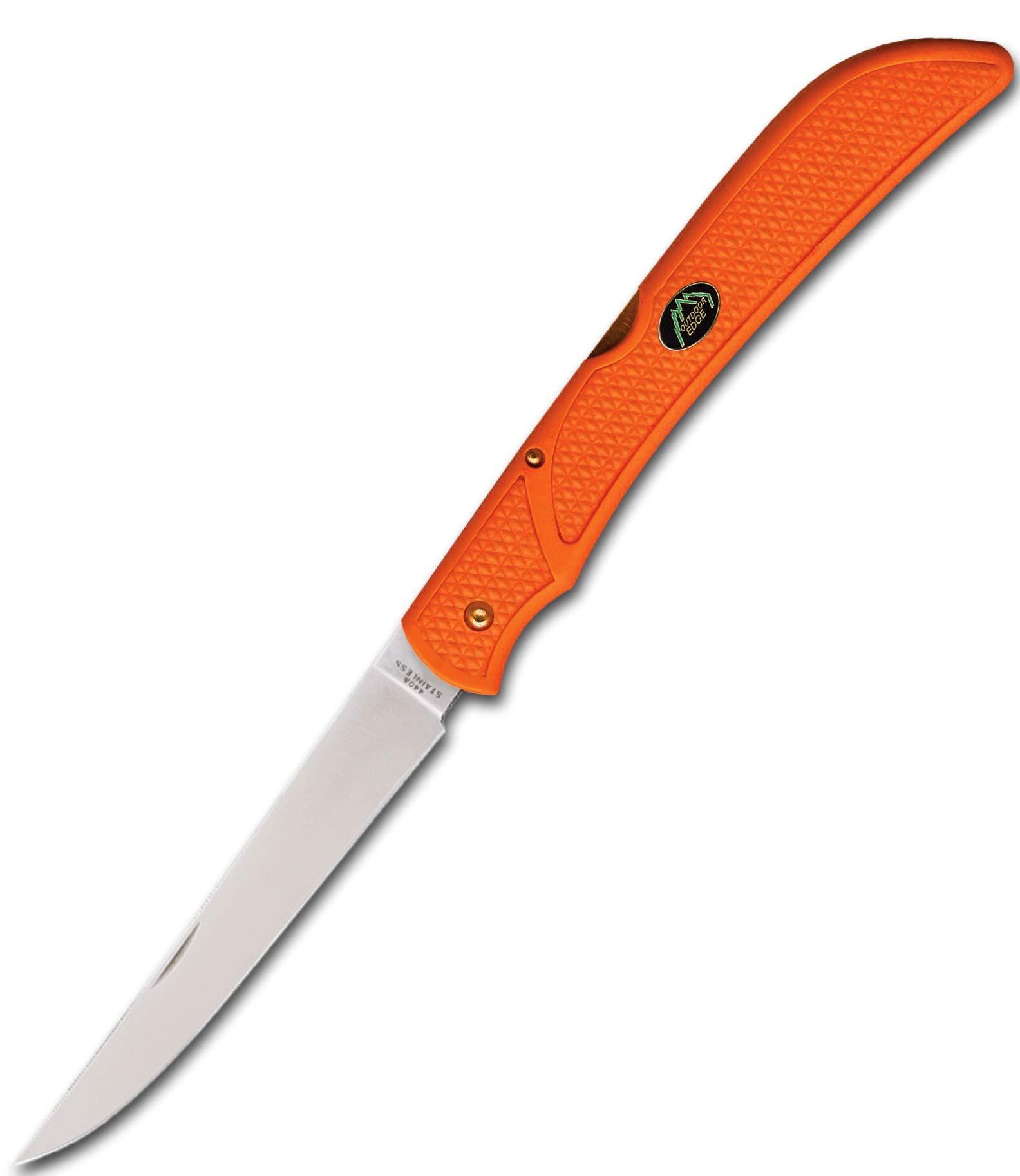 Outdoor Edge Field Bone, FBB-2, Fish Fillet & Game Deboning Folding 5 Inch Fillet Knife, Blaze Orage with Mossy Oak Sheath