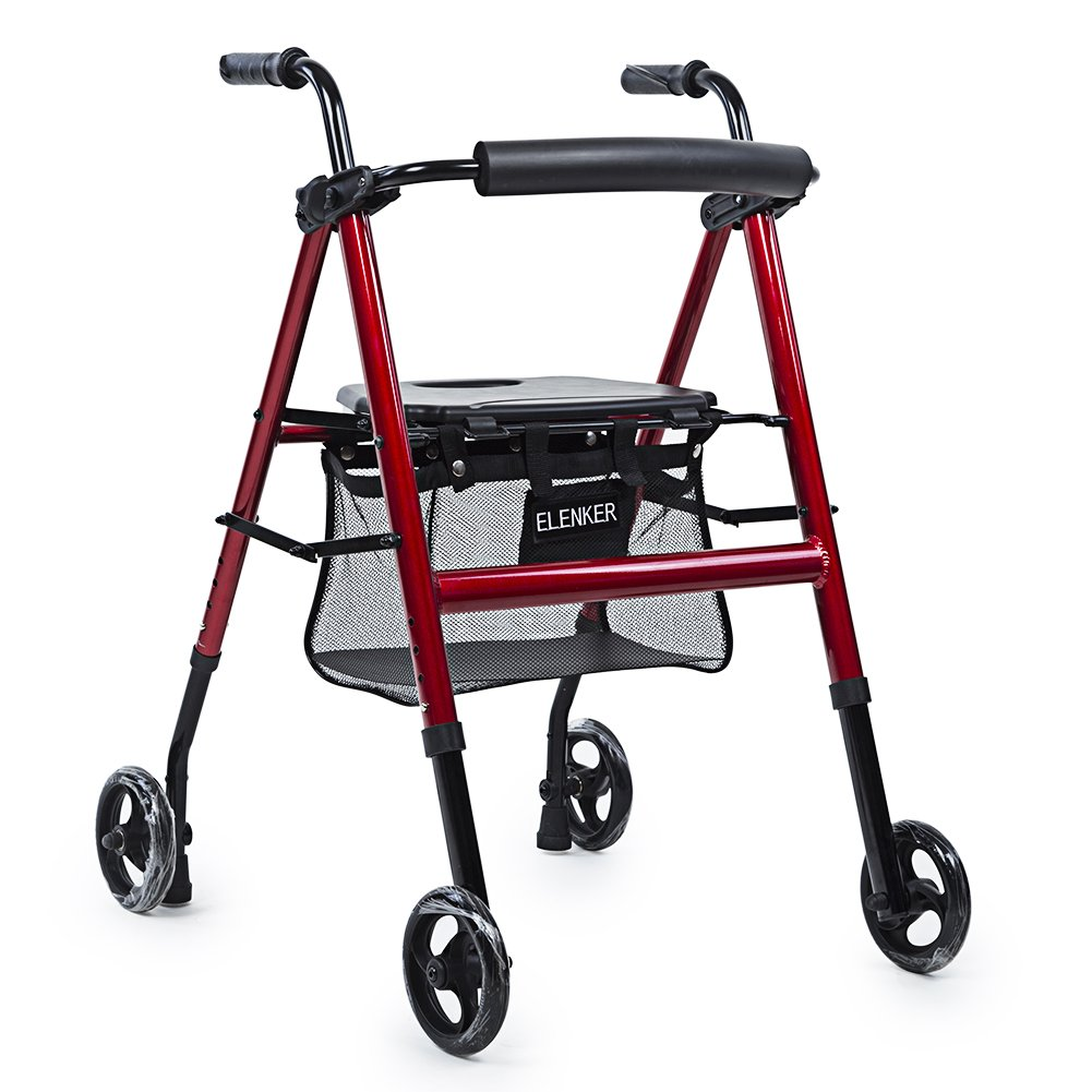 ELENKER Lightweight Portable Rolling Walker with Seat and Shopping Bag Red