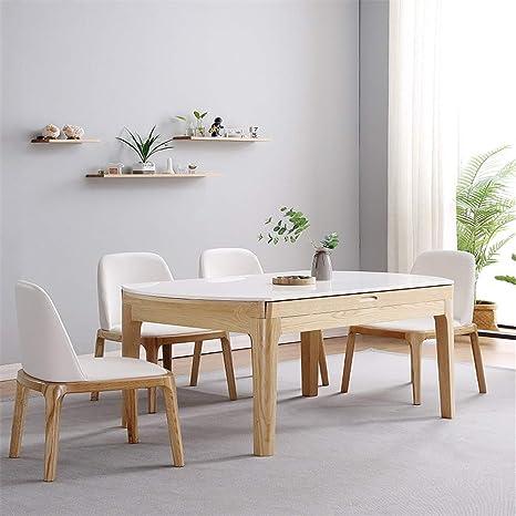WSNDDL Mesa y sillas Plegables telescópicas de mármol de ...