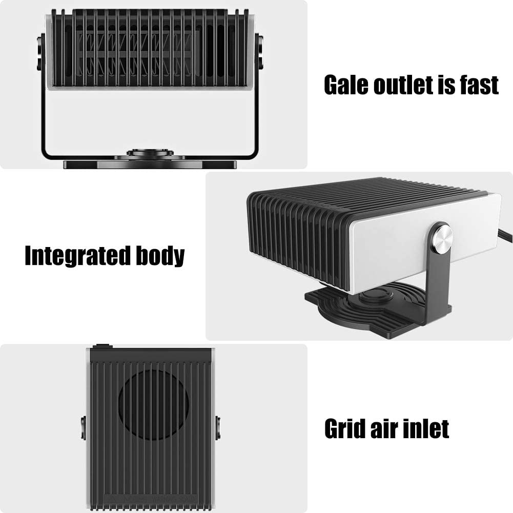parabrisas descongelado con calentamiento r/ápido blanco Calefactor para coche port/átil calefacci/ón y ventilador de refrigeraci/ón 2 en 1 deshumidificador de ventanas poco ruido 12 V