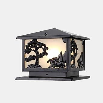 Cuadrado retro romana Columna griega lámpara de jardín lámpara de talla Ingeniería Jardín Poste al aire libre luz de la linterna IP55 a prueba de agua (Color : Negro): Amazon.es: Iluminación