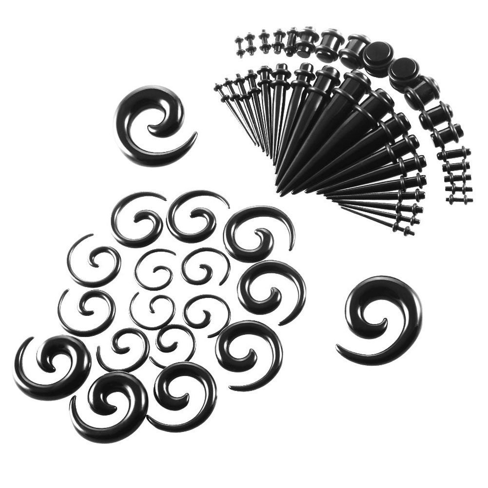 NASAMA 52 Pieces Acrylic Ear Stretching Kit Spiral Tapers and Straight Taper with Plugs 14G-00G Gauges Ltd