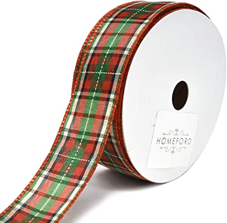 1-1//2-Inch 25-Yard Denver Plaid Polyester Wired Christmas Ribbon