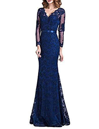 Vickyben Womens elegant V-neck Lace Floral Fishtail Long Sleeve Prom Dress Evening Dress Ball