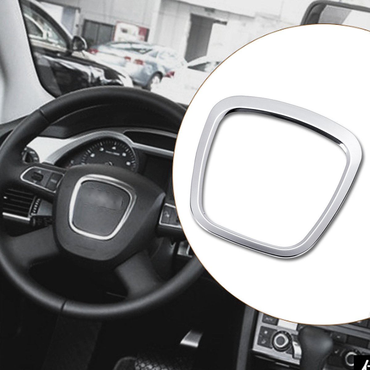 Hitommy Aluminium Alloy Car Steering Wheel Sticker Body Emblem Trim for Audi A3//A4//A5//Q5//Q7