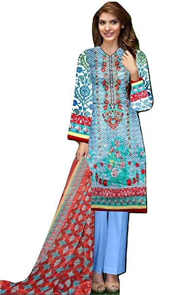 1875cd74c5 Huma Nasheed's Paki, Lawn Suit, Printed & Digital Embroidered 100% Cotton  Ladies Dress