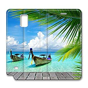 Fantasy Design Leather Case for Samsung Note 4 Clear Water and Blue Sky