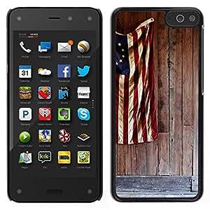 // CIUDAD ACTUAL MECELL // SmartPhone funda carcasa PC duro plástico fresco imagen para Amazon Fire Phone /// Bandera patriótica blanco azul rojo ///