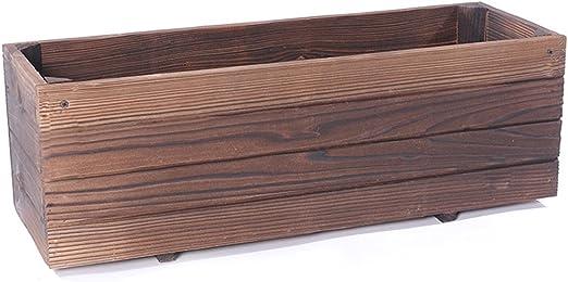 Caja de flores de madera antigua Rectangular Múltiples macetas de ...