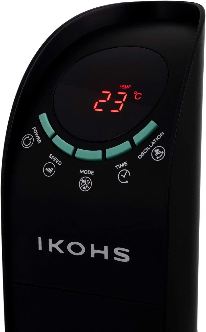 6 Velocidad con Mando de Control Remoto IKOHS Ion-Wind TF Color Negro Mate Dise/ño Minimalista Polen Elimina Polvo g/érmenes y Malos olores Ventilador Ionizador Torre Ultrasilencioso