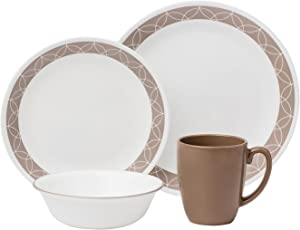 Corelle Livingware 16-Piece Dinnerware Set, Sand Sketch, Service for 4