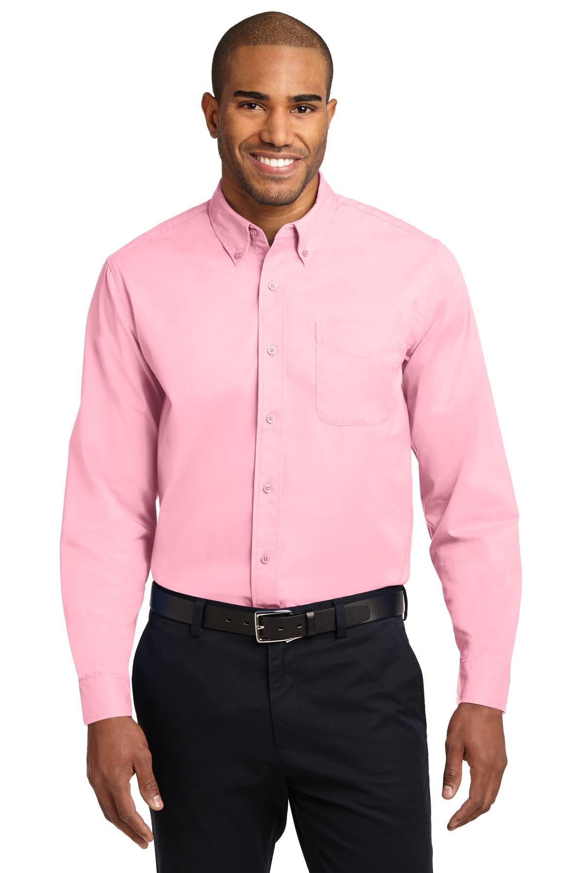 Port Authority Men's Tall Long Sleeve Easy Care Shirt 2XLT Light Pink
