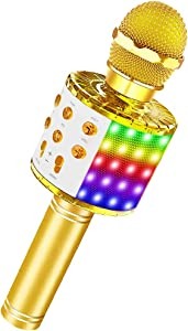Bluetooth Karaoke Microphone with LED Lights, XIANRUI Portable Karaoke with Speaker for Kids Adults, Handheld Karaoke Machine for Home KTV Party Birthday Gifts, Compatible Android&iOS (Gold New)