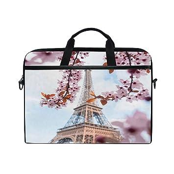 b8703cd10a23 TropicalLife Laptop Bag Paris Eiffel Tower Cherry Blossom Lightweight  Briefcase Shoulder Messenger Bag Laptop Case Sleeve for 11.6-15 inch  MacBook ...