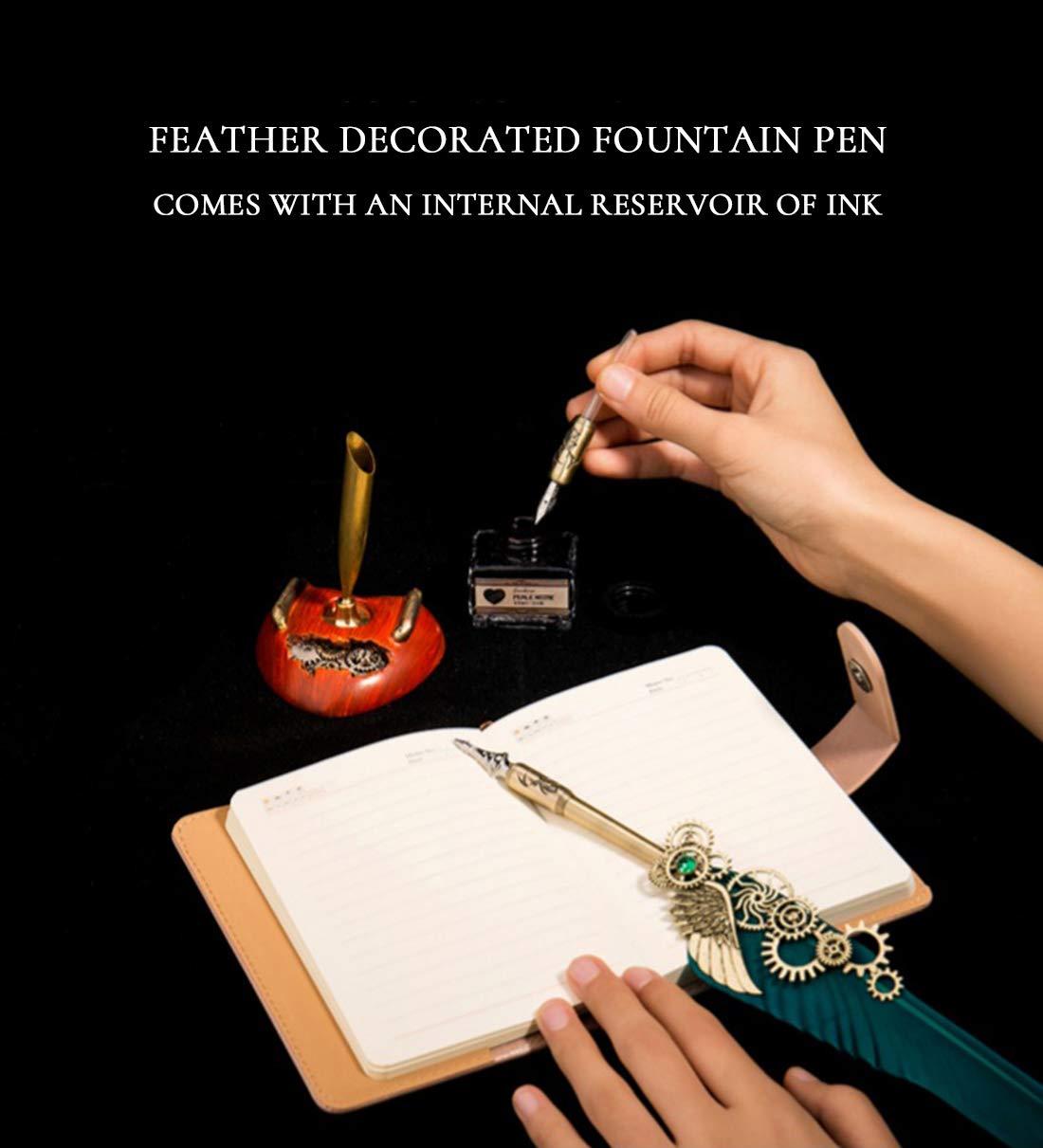 HENHEN Feather Quill Pen Set - 100% Hand Craft - Steampunk Quill Pen and Notebook Set, in Gift Box by HENHEN (Image #3)