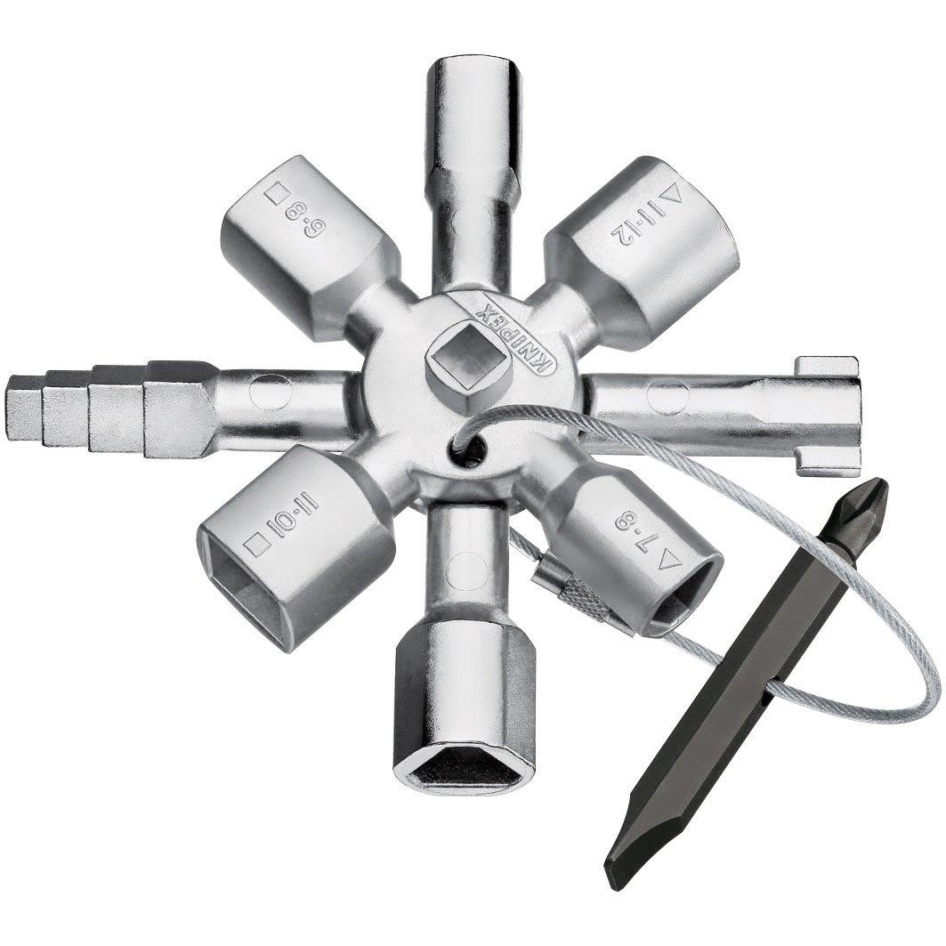 Knipex Tools  00 11 01 Twin Key Universal Control Cabinet Key, Chrome