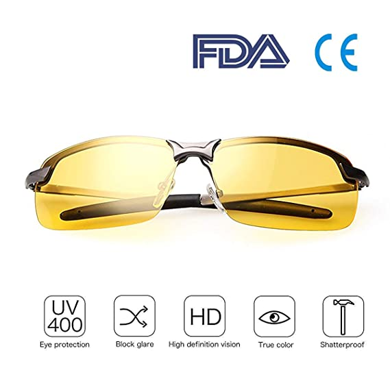 e45cc90a7ff6 Best Safety Glasses for Night Driving HD Goggles Night Vision Polarized  Risk Reducing