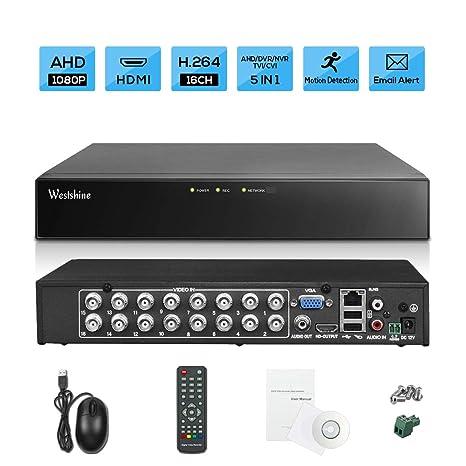Westshine 1080P 16CH de Vigilancia Grabador de Video Digital CCTV H.264 DVR NVR para AHD/TVI/CVI/CVBS/IP Seguridad Cámara,Soporta Onvif P2P ...